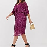 ASOS Design Curve Scatter Sequin Knot Front Kimono Midi Dress