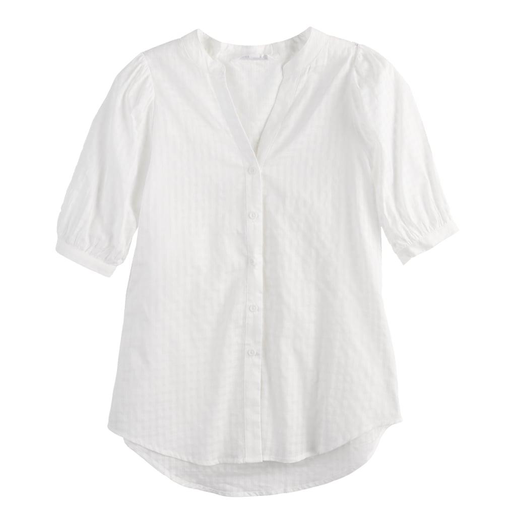 POPSUGAR Puff-Sleeve Button-Down Top