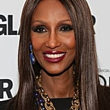 Iman's beauty is ageless. Last night, she hit the red carpet with dark black eye shadow and vampy purple lipstick.