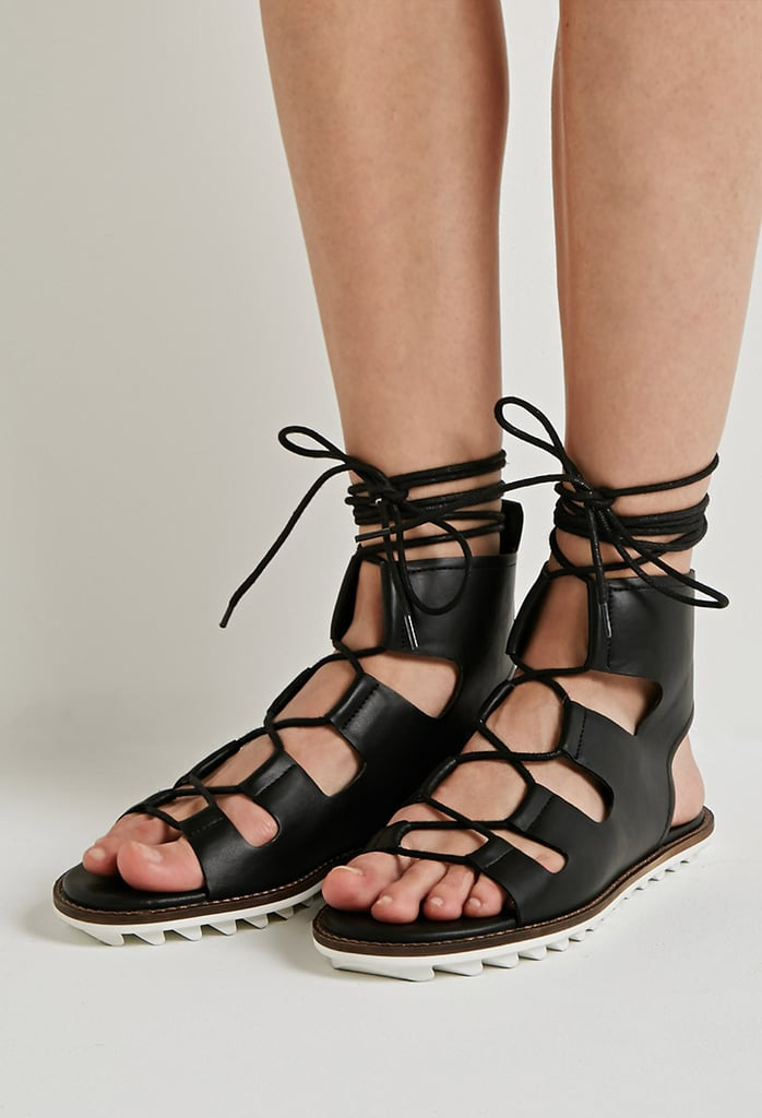 c6f6a1a68e61 Forever 21 Faux Leather Lace-Up Gladiator Sandals ( 30)
