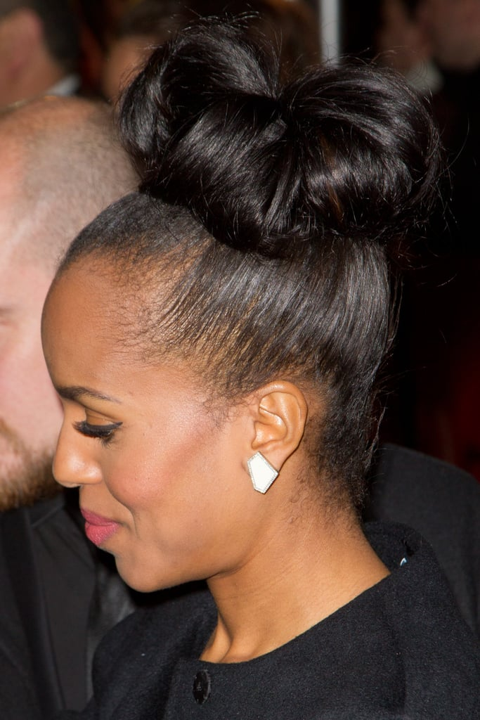 On the Django: Unchained Parisian red carpet, Kerry wore a loose topknot that is easy to re-create with a few bobby pins and rollers.