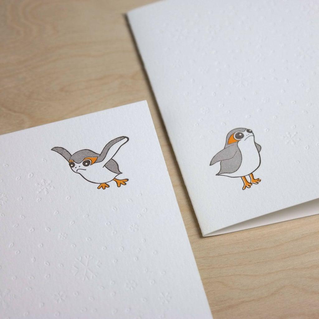 Porg Letterpress Holiday Card