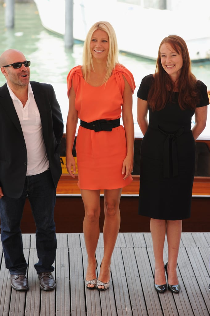 Scott Z. Burns, Gwyneth Paltrow, Jennifer Ehle at the Venice photo call for Contagion.