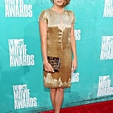 Nikki Reed wore gold at the 2012 MTV Movie Awards.