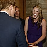 US Olympian Missy Franklin found Prince Harry to be hilarious during a reception in Denver.