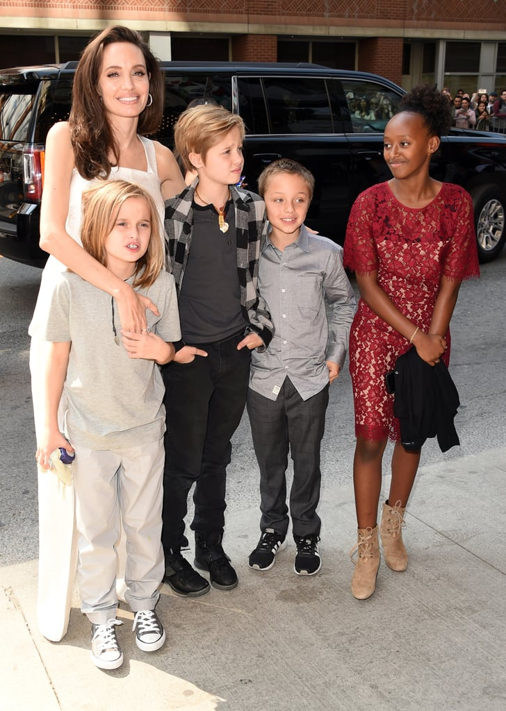 Angelina Jolie had the support of her big, happy family as she attended the premiere of her film The Breadwinner at the Toronto International Film Festival on Sunday. The actress, who is currently in the middle of divorcing Brad Pitt, was all smiles as she posed with her youngest children, Zahara, 12, Shiloh, 11, and twins Knox and Vivenne, 9. Not only do they all look so grown-up, but Shiloh is basically the spitting image of her father. While the couple's oldest sons, Maddox, 16, and Pax, 13, were visibly absent from the event, they were on hand last week to support their mother at the premiere of her film, First They Killed My Father, which Pax also assisted on as an on-set photographer.       Related:                                                                                                           We Just Can't Get Enough of These Adorable Jolie-Pitt Family Moments