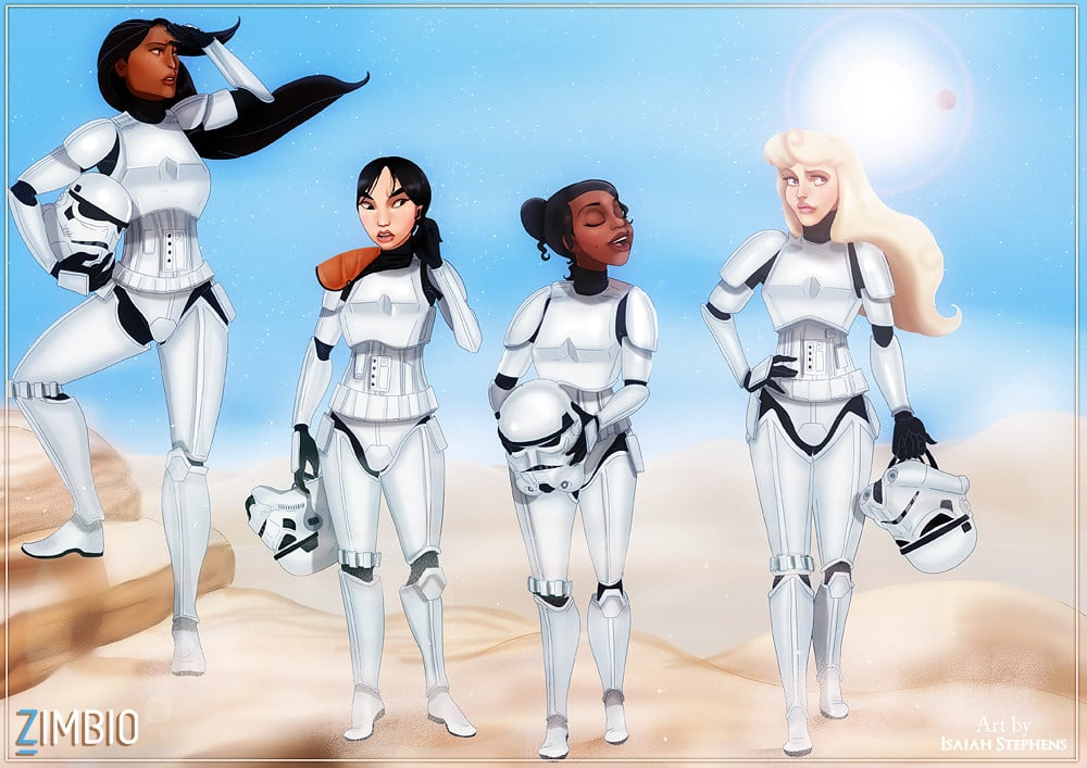 Pocahontas, Mulan, Tiana, and Aurora as Stormtroopers