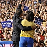 The Obamas stick together a couple of days before the 2008 election.