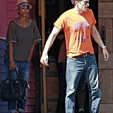 Olivier Martinez and Halle Berry walked out of a restaurant together.