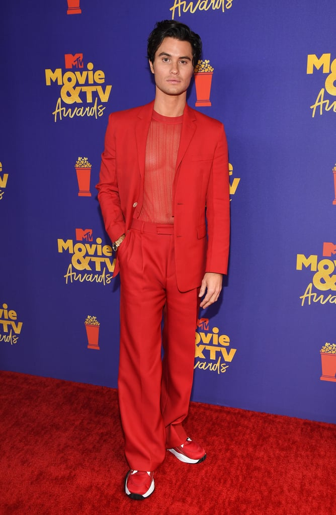 Chase Stokes Wears Red Suit With Sheer Top at the MTV Awards