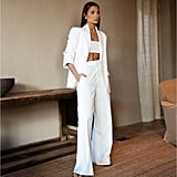 Danielle Bernstein Blazer With Ruched Sleeves, Cropped Tank Top, and Trouser Pants