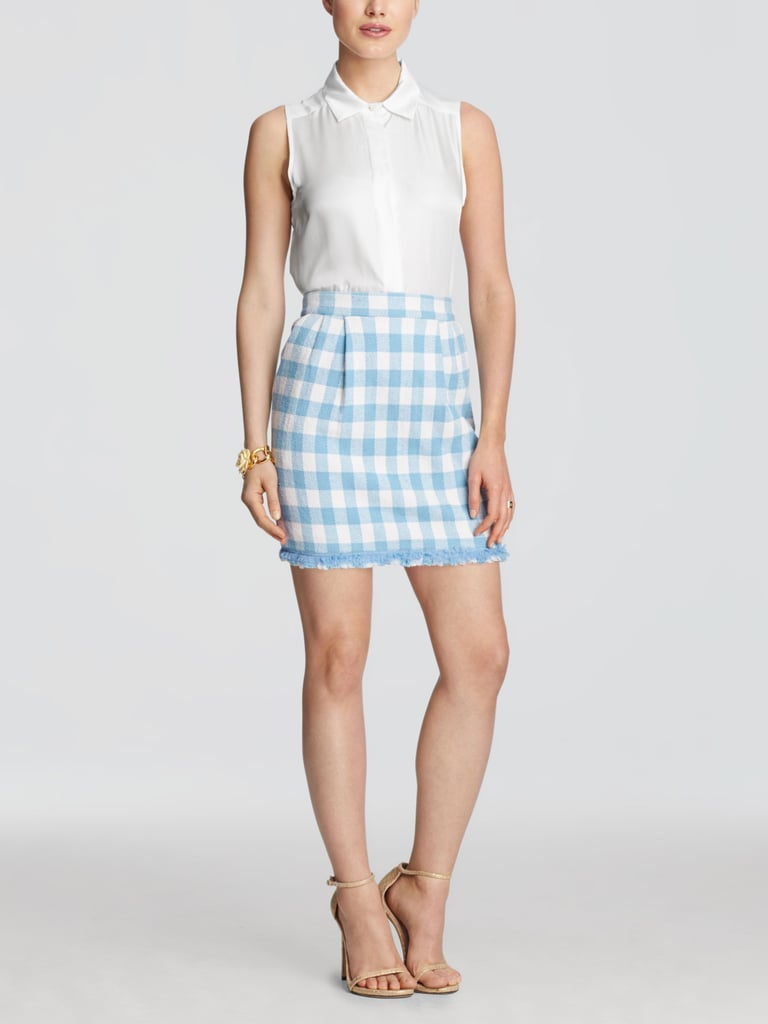 Reese Witherspoon S Blue Checked Dress Popsugar Fashion