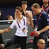 Prince William helped Kate balance.