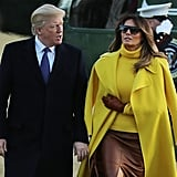 Melania Trump Wearing Yellow Ralph Lauren Coat
