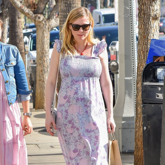 Kirsten Dunst in Purple Maxi Dress