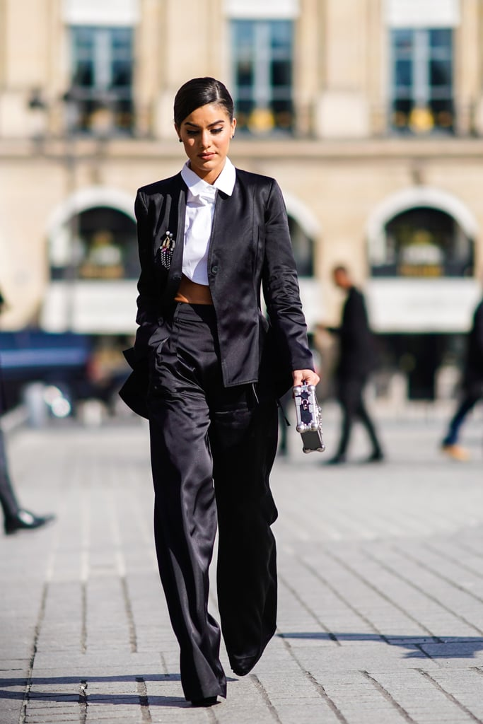 A Black Silk Trouser Suit and Cropped Shirt