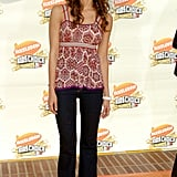 Jessica Alba evoked a bohemian sensibility in a loose-fitting print top and flared jeans at the 2007 awards.