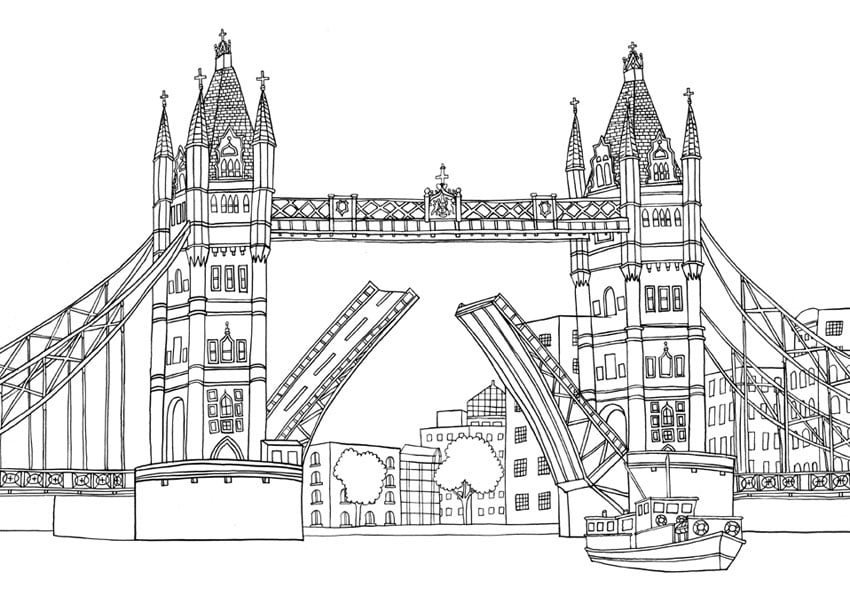 Get the colouring page: London Bridge | Free Colouring Pages For ...