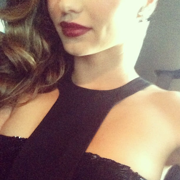 Miranda Kerr teased a sexy red lip en route to the Met Gala. Source: Instagram user mirandakerr