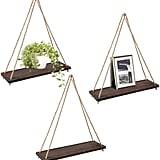 Mkono Wood Wall Floating Hanging Swing Rope Shelves