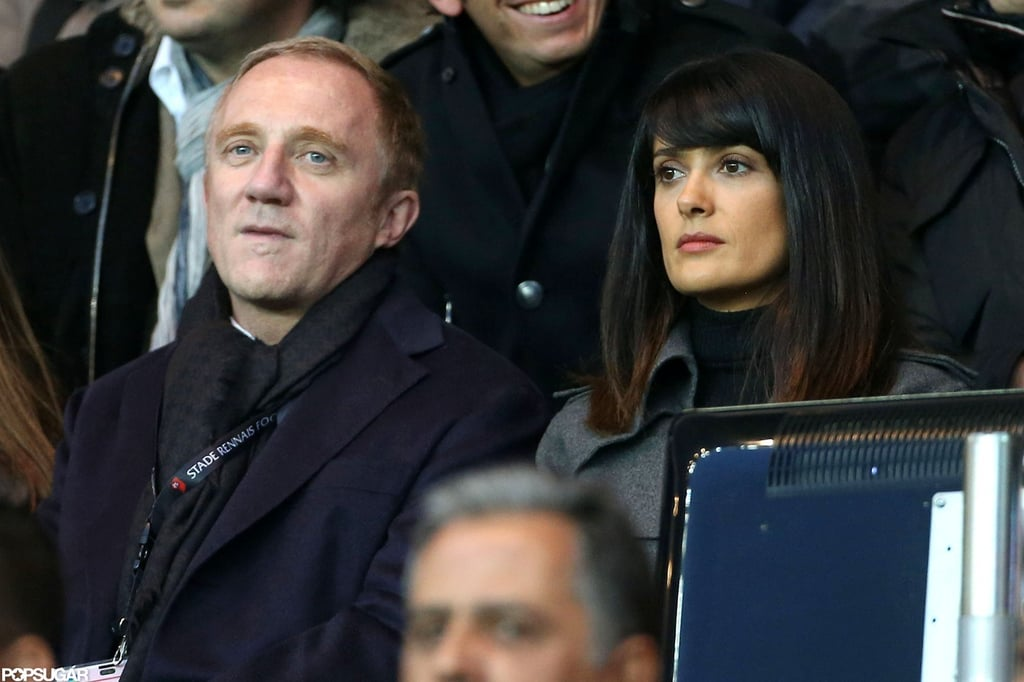 Salma Hayek and Francois-Henri Pinault paid attention to the game.