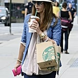 Jessica Alba sported a hat and sunglasses in NYC.