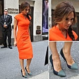 Shop a variety of orange sheath dresses on CelebStyle to get Victoria Beckham's bright FNO look, and then add her exact Proenza Schouler pumps to the mix for maximum impact.