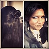 "Mindy Kaling showed off a hairstyle that she called the ""your favorite babysitter."" Source: Instagram user mindykaling"