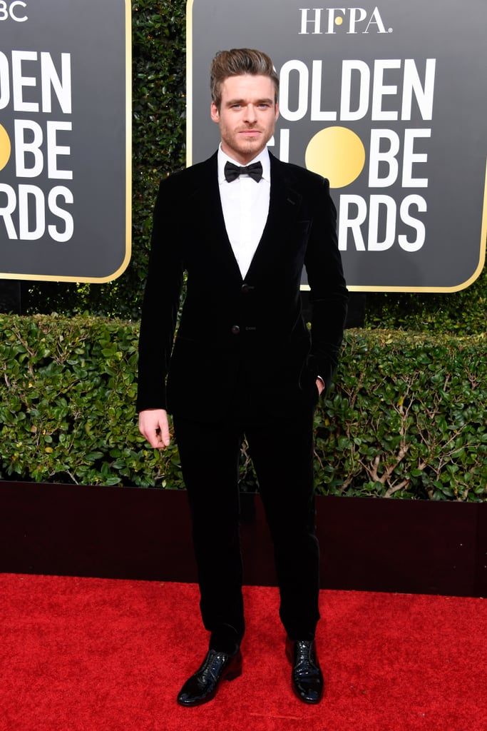 Richard Madden didn't need his Game of Thrones Stark family sigil during the Golden Globes; he had his real-life trademark — his gorgeous blue eyes — shining bright on the red carpet. The actor looked incredibly dapper while posing for photos, and although I wasn't able to attend as his date, his famously scruffy smile shined as a party of one. The actor is nominated for best performance in a drama television series for his work on the Netflix hit Bodyguard, which first premiered in the UK in 2018. Ahead, find photos of Richard from Sunday night's Golden Globes red carpet, and prepare to immediately turn into the heart-eyed emoji.      Related:                                                                                                           Every Stunning Dress From the 2019 Golden Globe Awards