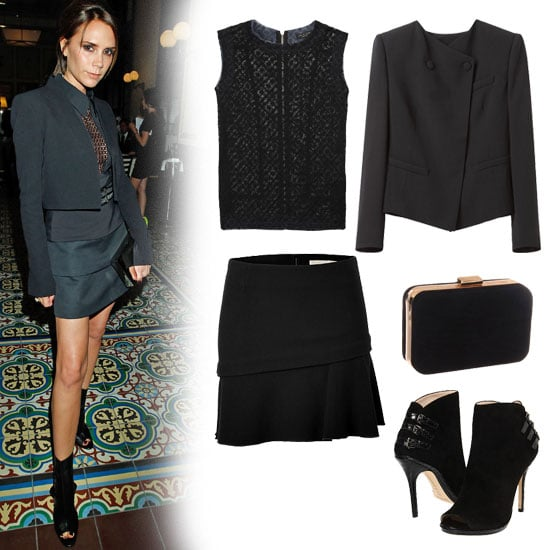 For a sexy spin on the all-black look, embrace Victoria Beckham's look via a black top with perforated detailing, a cropped blazer, and tiered miniskirt. The look gets added edge from a pair of open-toed booties. Get the look:  Rag and Bone Kinwat Top ($325) Vanessa Bruno Black Mini-Skirt ($400) Girl by Band of Outsiders / Cropped Collarless Jacket ($515) Magid Velour Texture Box Clutch ($50) Kors Michael Kors Jacy ($350)
