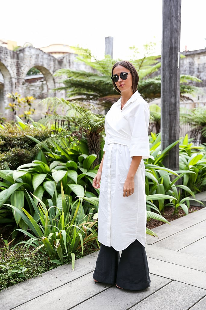 Wrap an Oversize Button-Down Over Your Flared Trousers to Play With Shapes