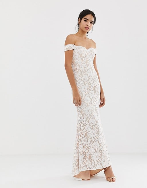 Jarlo All-Over Lace Bardot Maxi Dress