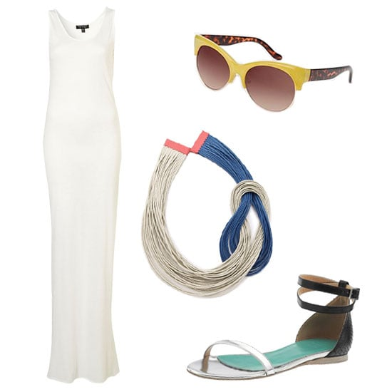 Take a no-frills approach to your beachy Memorial Day attire. Simply add subtle color to a breezy white maxi via yellow-infused sunglasses and blue flip-flops. It's an effortless look that still keeps your weekend styling skills sharp. Get the Look:   Topshop Racer Back Maxi Dress ($36)  Urban Outfitters Fiona Sunglasses ($10)  Lanno Ana Maria Necklace ($98)  Tibi Amber Flat ($340)