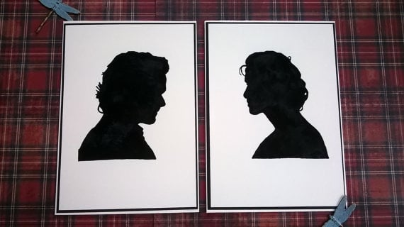Jamie and Claire Silhouettes ($12)