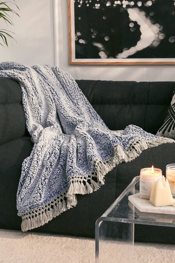 Amped Fleece Fringe Trim Throw Blanket Affordable Home