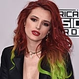 Bella Thorne With Dark Red Hair and Green Ends