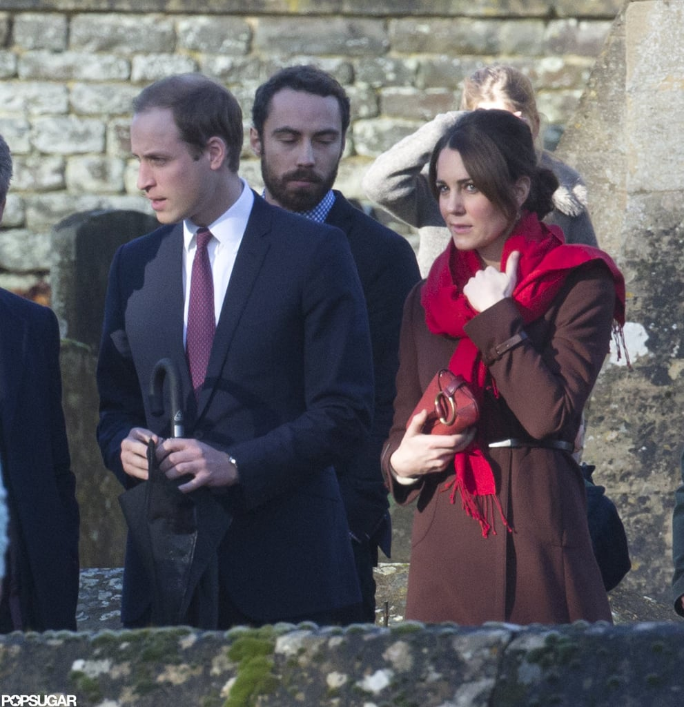 Kate Middleton and Prince William joined the Middleton family for Christmas mass at St. Mark's Church in Englefield, Berkshire, in England today. Kate wore a burgundy coat to cover any hint of a baby bump. The duchess and prince broke from tradition to spend Christmas with her family instead of the royals. Pippa, Carol, James, and Michael Middleton all joined Kate and William for the service. Queen Elizabeth II gave her traditional annual speech on Tuesday as well, though this time around it was actually broadcast in 3D. Prince Harry is spending the holiday in Afghanistan with British troops.  Kate has been laying low since announcing her pregnancy and hospitalization for severe morning sickness earlier in December. Kate did attend a pre-Christmas lunch with William last week, though the couple chose to skip the other official celebrations in order to be more relaxed with her family. The royal baby on the way is currently your number-two headline of the year in our biggest celebrity story of 2012 bracket, second only to President Obama's reelection.