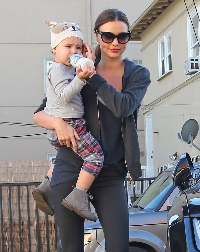 Miranda Kerr headed out for an early-morning workout Saturday in Beverly Hills. Miranda had her son, Flynn Bloom, for company on the outing. Flynn, who turned 2 years old last weekend, was covered up against the chilly day with an adorable hat, plaid pants, and booties.  Last night, Miranda had a late one with her husband, Orlando Bloom, whose 36th birthday was actually yesterday. The couple made a stunningly stylish arrival at the Beverly Hilton for the Golden Globes. Orlando sported a suit while Miranda Kerr wore a red Zuhair Murad gown with a daringly high slit. The hotel housed several celebrity-packed afterparties, including the InStyle bash, which Miranda and Orlando stopped by after the ceremony.