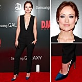At the NYC screening of Django Unchained Olivia paired a plunging A.L.C jumpsuit ($695) with a black crocodile clutch, then slipped on a pair of blue velvet Gio Diev pumps, a few pendant necklaces, and shimmering violet eye shadow for a pop of flair.