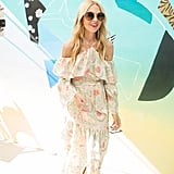 Rachel Zoe wearing a flowy printed Rachel Zoe maxi dress at The Zoe Report's Zoeasis party.