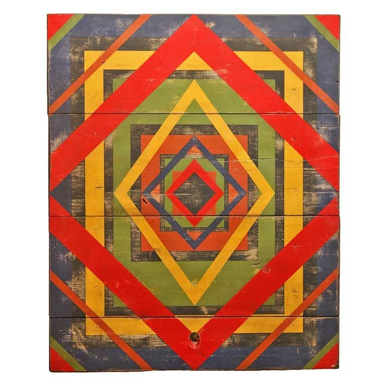 This Anonymous Abstract Geometric Painted Board ($3,500) was found in Texas and is from an anonymous artist who painted on recycled cupboard doors, floor boards, table tops, and stools.