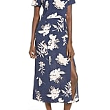 Kimono Floral Print Midi Dress