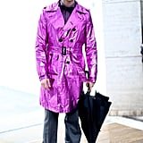 Brad Goreski went for the ultimate head turning kind of outerwear with a flash of high-wattage pink on his trench.