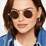 Illesteva Roma II Round Frame Acetate and Gold Tone Sunglasses