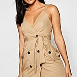 Boohoo Trench Sleeveless Wrap Dress