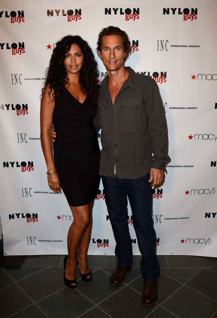 Matthew McConaughey had pregnant Camila Alves, wearing INC International Concepts, by his side at The Bungalow in Santa Monica last night. They were celebrating Matthew's Nylon Guys cover and the accompanying spread, which has him talking about film roles and family. Matthew also chatted about his wife and kids on the red carpet at the event yesterday, saying that he's been cooking big meals at home for them even though he can't eat them. He's losing weight for his role in The Dallas Buyer's Club but has plans to indulge in a cheeseburger immediately after he's done filming.  Matthew's thinner frame was on display during a recent vacation to Spain with friends. Camila wore a bikini while Matthew went shirtless for the sunny outing — make sure to vote for Matthew and your other favorites in our 2012 Shirtless Bracket!