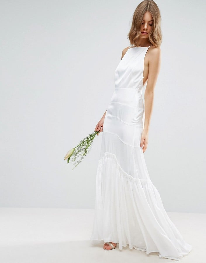asos bridal cami maxi dress with concertina folding