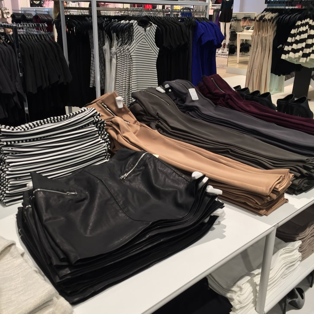Leather-look skirt and equestrian-style leggings