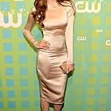 At The CW's 2012 up-fronts, Nina glimmered in a long-sleeved Dolce & Gabbana frock and red sandals.
