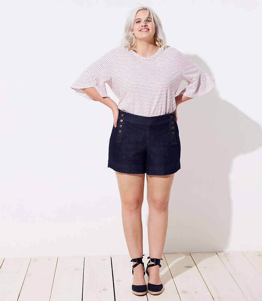 Loft Plus Denim Sailor Shorts